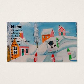 冬の雪場面ヒツジの民芸 名刺