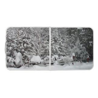 冬の雪場面 ビアポンテーブル