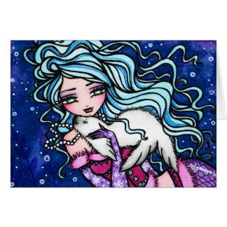 冬の雪片のシールの人魚のファンタジーの芸術カード カード