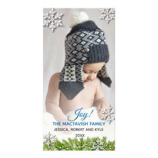 冬の雪片の休日の写真 カード