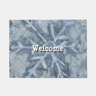 冬の雪片の水彩画 ドアマット