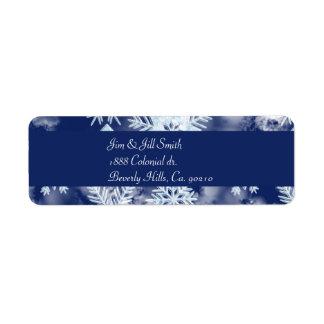 冬の雪片の氷った青 ラベル
