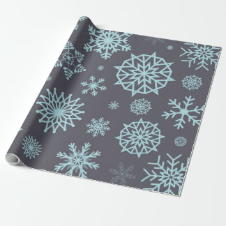 冬の雪片の灰色及び青の休日のクリスマス ラッピングペーパー