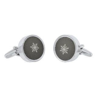 冬の雪片の白いチョークのスケッチ 銀色 カフリンク