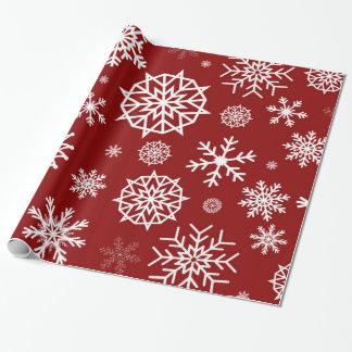 冬の雪片の赤いホワイトクリスマス ラッピングペーパー