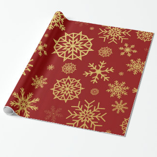 冬の雪片の赤い金ゴールドのクリスマス ラッピングペーパー