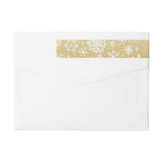 冬の雪片の金ゴールドのグリッターの黒のモノグラムのラベル ラップアラウンド返信用宛名ラベル