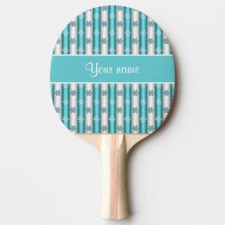 冬の雪片の青い白のストライプ 卓球ラケット