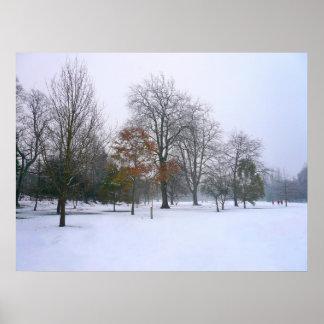 冬の雪、ビュート公園、カーディフ、ウェールズ ポスター