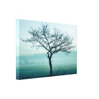 冬の霧の孤独な木 キャンバスプリント