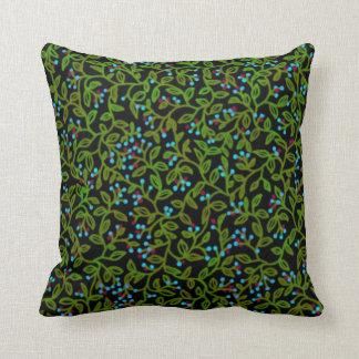 冬の青い果実のつる植物の枕 クッション