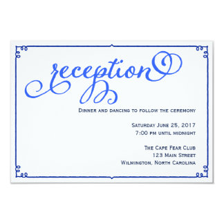 冬の青の結婚披露宴の明細カード 8.9 X 12.7 インビテーションカード