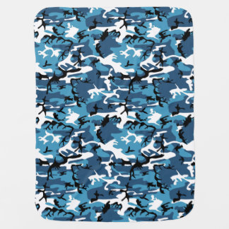 冬の青の迷彩柄 ベビー ブランケット
