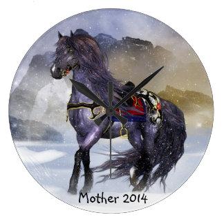 冬の馬、ウマ科のな芸術の円形の(大きい)柱時計 ラージ壁時計