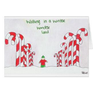 冬の驚異の土地で歩くこと カード