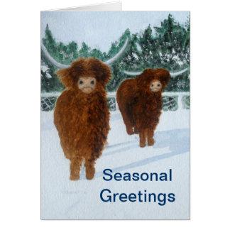 冬の高地の牛 カード