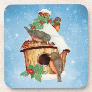 冬の鳥および巣箱 コースター