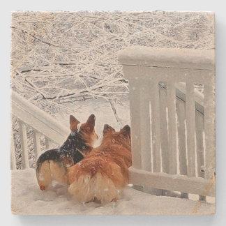 冬の2匹のコーギー ストーンコースター