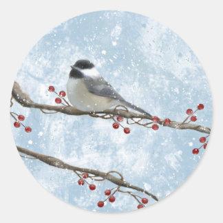 冬の《鳥》アメリカゴガラのステッカー ラウンドシール