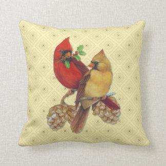 冬の(鳥)ショウジョウコウカンチョウマツおよびヒイラギ クッション