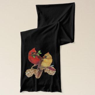 冬の(鳥)ショウジョウコウカンチョウマツおよびヒイラギ スカーフ