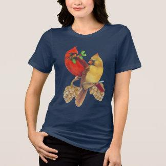 冬の(鳥)ショウジョウコウカンチョウマツおよびヒイラギ Tシャツ