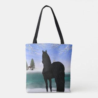 冬のFriesianの馬 トートバッグ