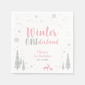 冬のOnederlandの第1誕生会の紙ナプキン スタンダードカクテルナプキン