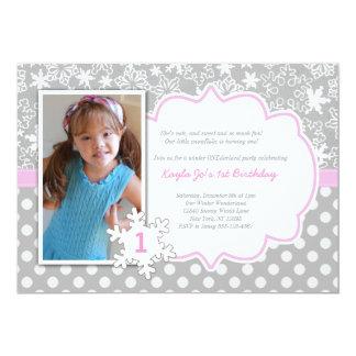 冬のONEderlandの第1誕生日の招待 カード