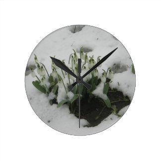 冬のSnowdropの円形の柱時計 ラウンド壁時計