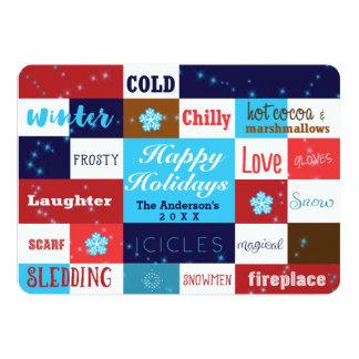 冬はおもしろいのタイポグラフィの休日カードを言い表わします カード