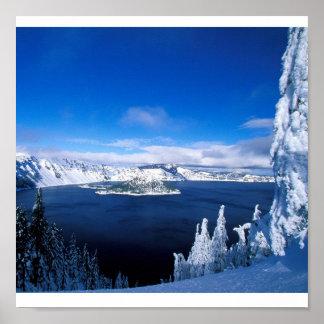 冬オレゴンのcrater湖 ポスター