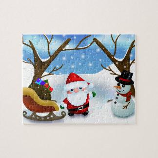 冬サンタクロースおよび雪だるま ジグソーパズル