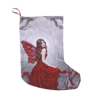 冬バラの蝶妖精のクリスマスのストッキング スモールクリスマスストッキング