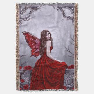 冬バラの蝶妖精のブランケット スローブランケット