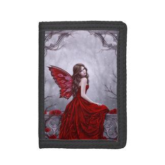 冬バラの蝶妖精の三つ折り財布