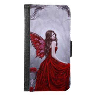 冬バラの蝶妖精の銀河系S6のウォレットケース GALAXY S6 ウォレットケース