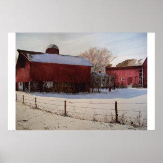 冬ポスターの赤い納屋 ポスター