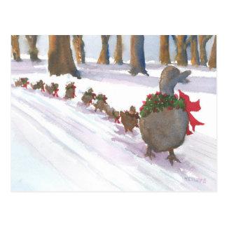 冬休みの間に共通ボストンのアヒル ポストカード