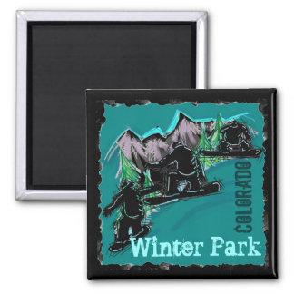 冬公園のコロラド州のスノーボードの磁石 マグネット