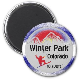 冬公園のコロラド州の旗のスノーボードの芸術の磁石 マグネット