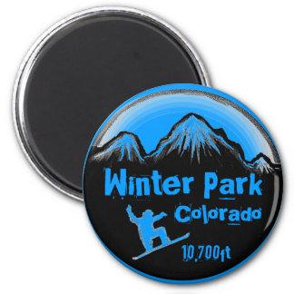 冬公園のコロラド州の青いスノーボードの芸術の磁石 マグネット
