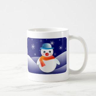 冬場面のかわいい雪だるま コーヒーマグカップ