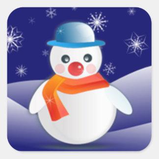 冬場面のかわいい雪だるま スクエアシール