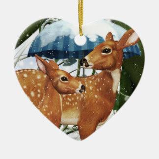 冬場面ハートのオーナメントの子鹿のシカ セラミックオーナメント