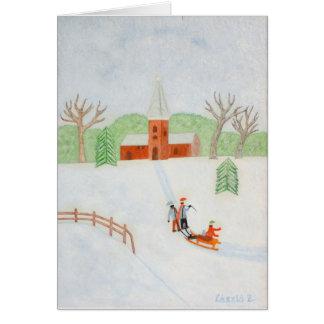 冬場面メッセージカード カード