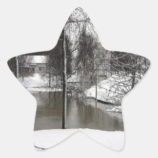 冬場面Icey草原の川 星シール