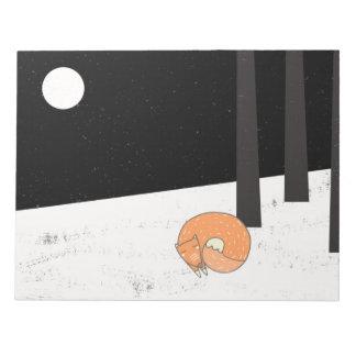 冬季の睡眠のキツネ-絵 ノートパッド