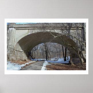 冬季のPennypack公園橋 ポスター