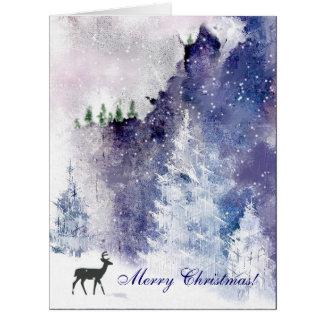 冬山場面クリスマスの挨拶状 カード
